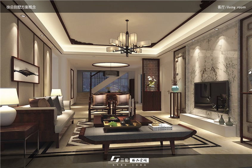 以线的表现手法,将天花,墙面,地面以线条形式体现出现代中式风格的图片