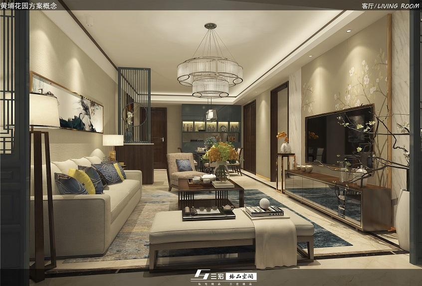 黄埔花园新中式家庭装修设计